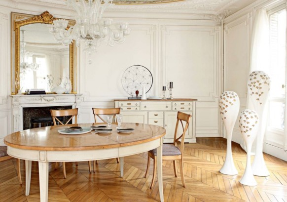 Traditional-Dining-room-antique-mirror-modern-chandelier-582x409.jpg